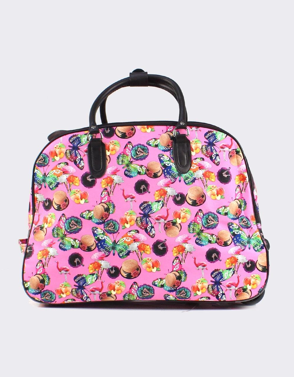 Εικόνα από Γυναικείες τσάντες ταξιδίου με πολύχρωμα σχέδια Ροζ