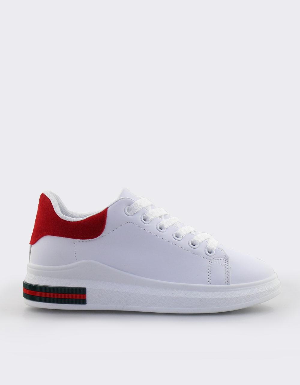Εικόνα από Γυναικεία sneakers με δίχρωμο σχέδιο Λευκό/Κόκκινο