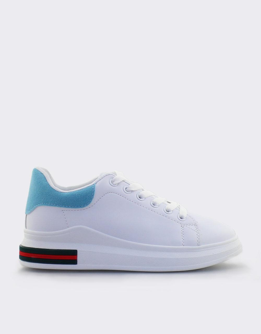 Εικόνα από Γυναικεία sneakers με δίχρωμο σχέδιο Λευκό/Σιέλ