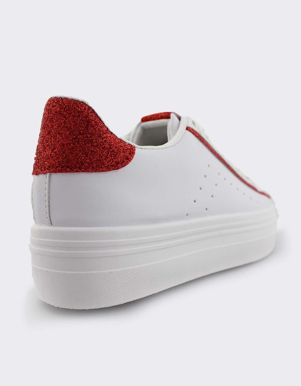 Εικόνα από Γυναικεία sneakers με διακοσμητικό glitter Λευκό/Κόκκινο