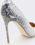 Εικόνα από Γυναικείες γόβες snake skin με glitter Ασημί