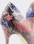Εικόνα από Γυναικείες γόβες snake skin με glitter Ροζ