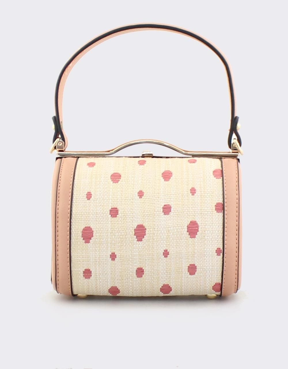 2abe01472a Εικόνα από Γυναικείες τσάντες χειρός με πουά μοτίβο Ροζ