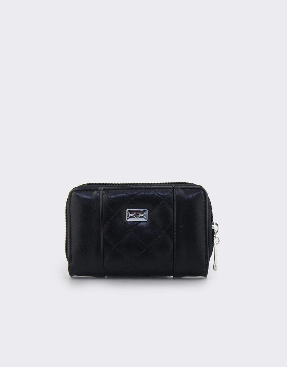 Εικόνα από Γυναικεία πορτοφόλια με καπιτονέ λεπτομέρεια Μαύρο