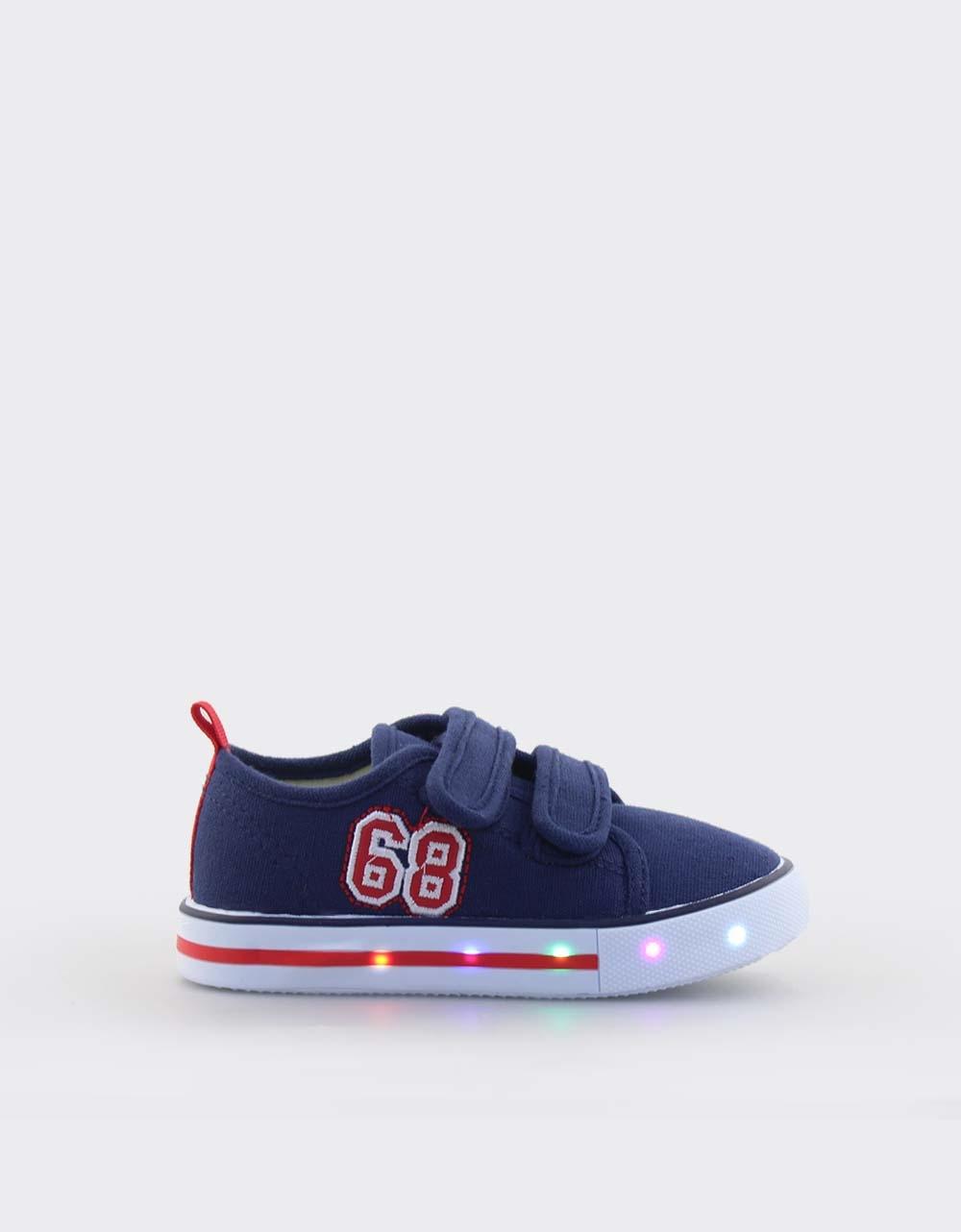 Εικόνα από Παιδικά sneakers με διπλά αυτοκόλλητα και φωτάκια Navy