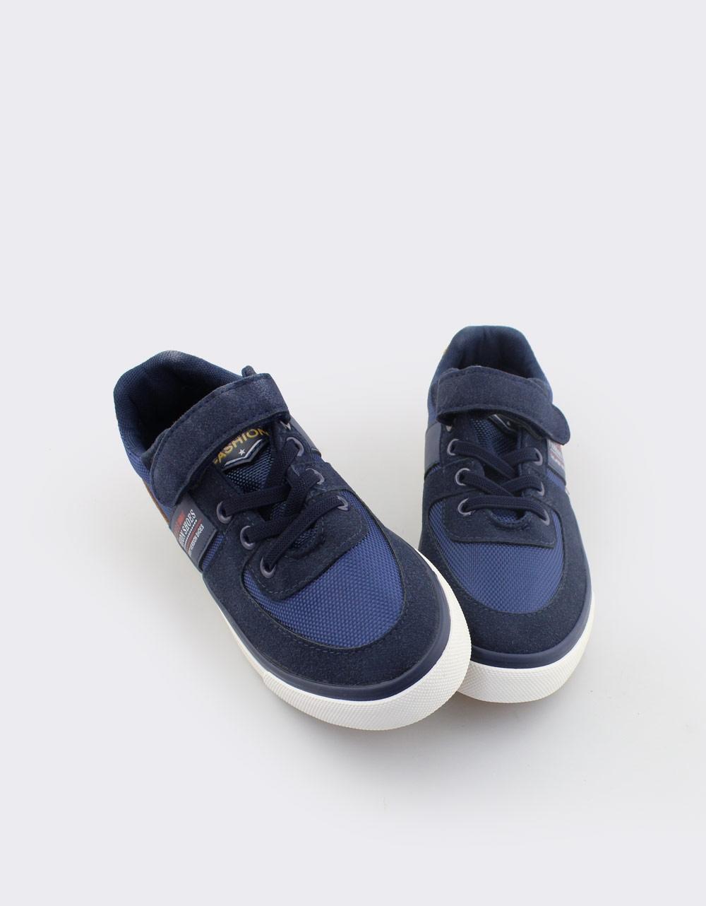 Εικόνα από Παιδικά sneakers με τύπωμα και αυτοκόλλητο Navy