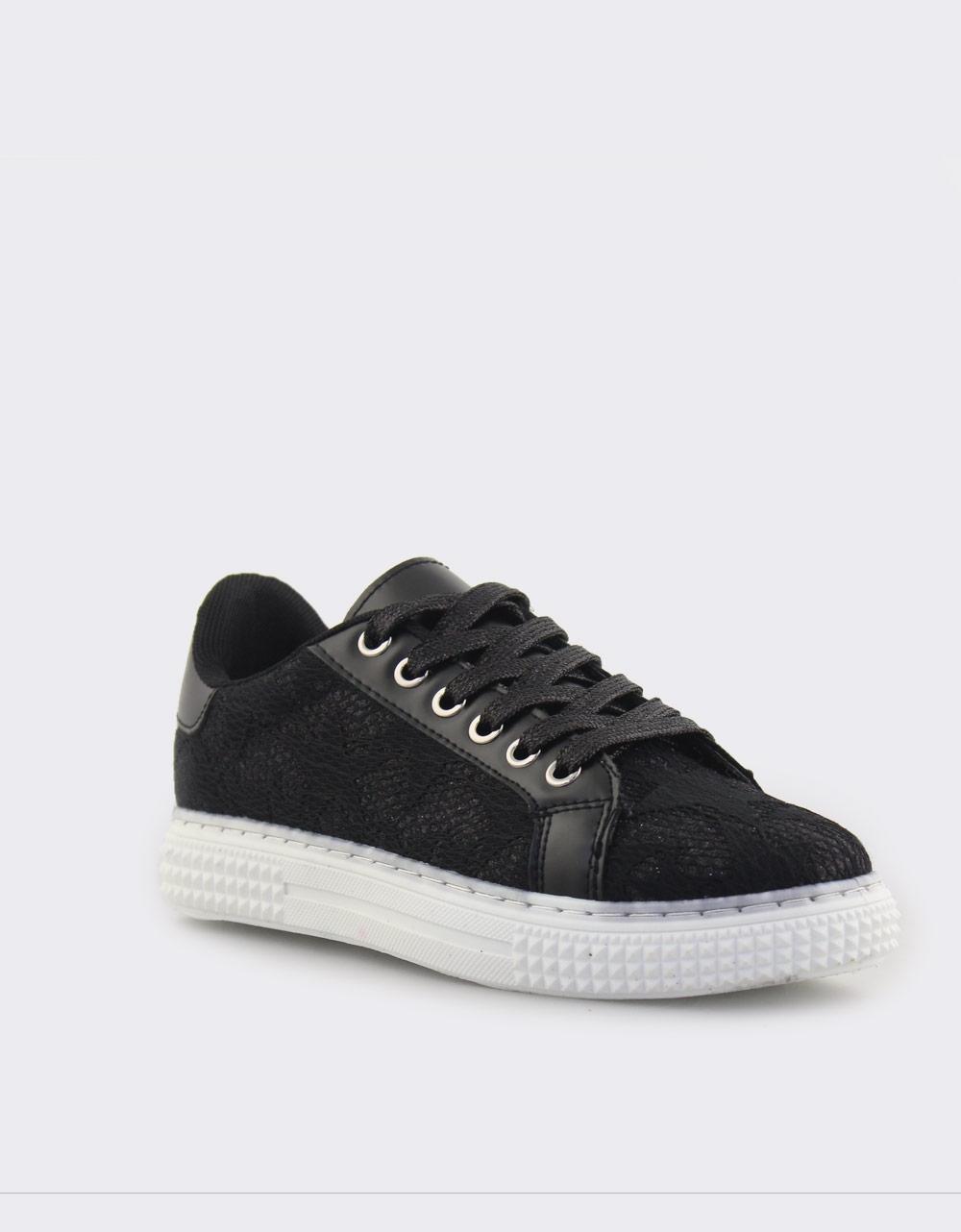 Εικόνα από Γυναικεία sneakers με δαντέλα Μαύρο