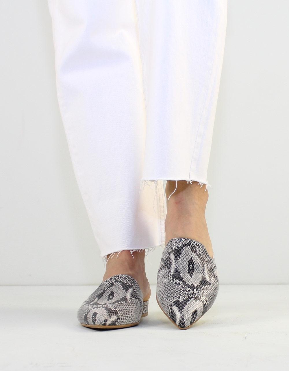 Εικόνα από Γυναικεία mules snake skin Λευκό