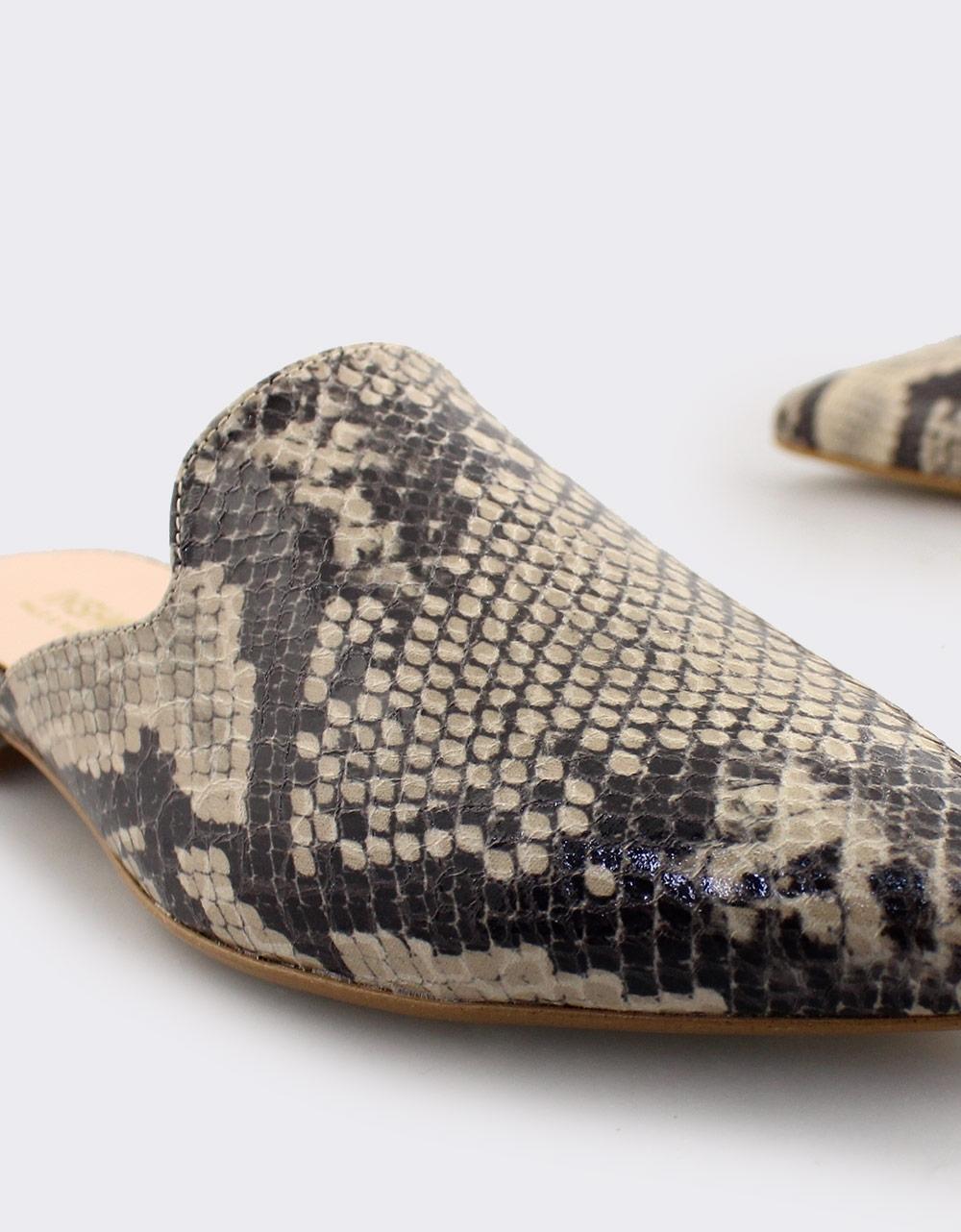 Εικόνα από Γυναικεία mules snake skin Μπεζ