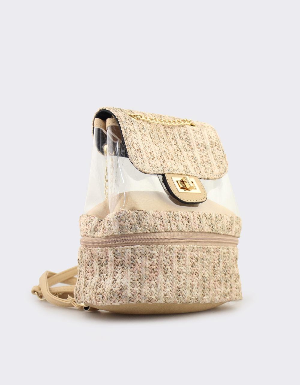 Εικόνα από Γυναικεία σακίδια πλάτης με ψάθα και διαφάνεια Μπεζ