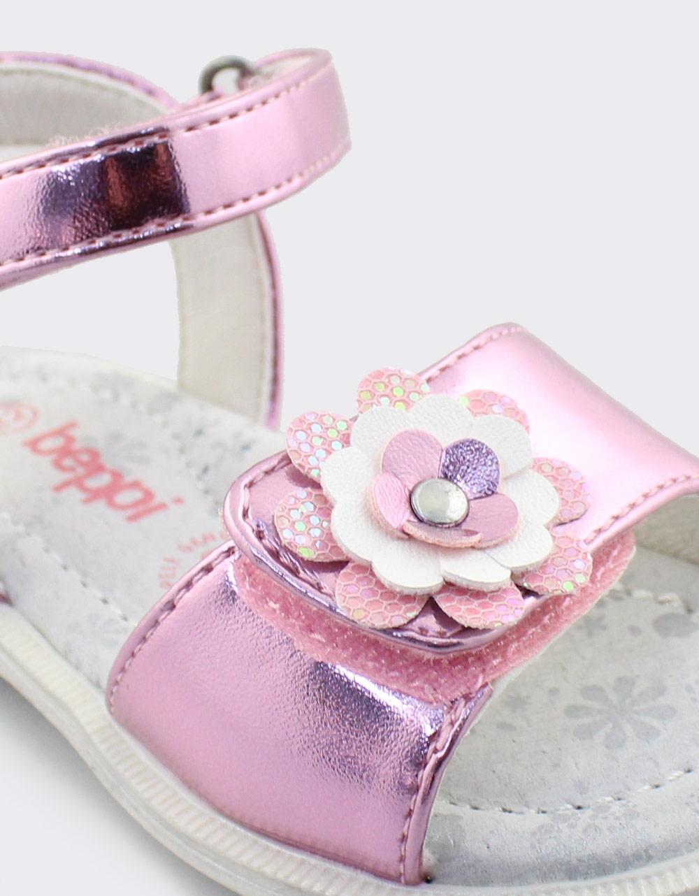Εικόνα από Παιδικά πέδιλα μεταλλιζέ με λουλουδάκι Ροζ