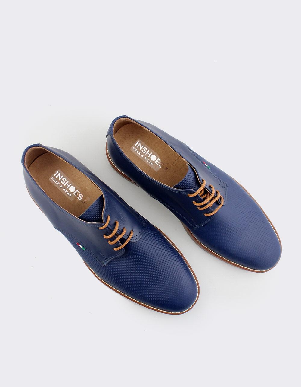 Εικόνα από Ανδρικά loafers δερμάτινα με ανάγλυφο σχέδιο Μπλε