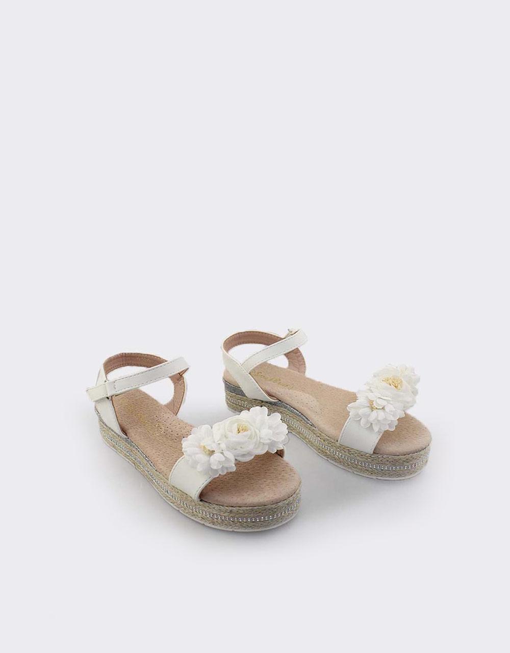 Εικόνα από Παιδικά πέδιλα με λουλουδάκια Λευκό