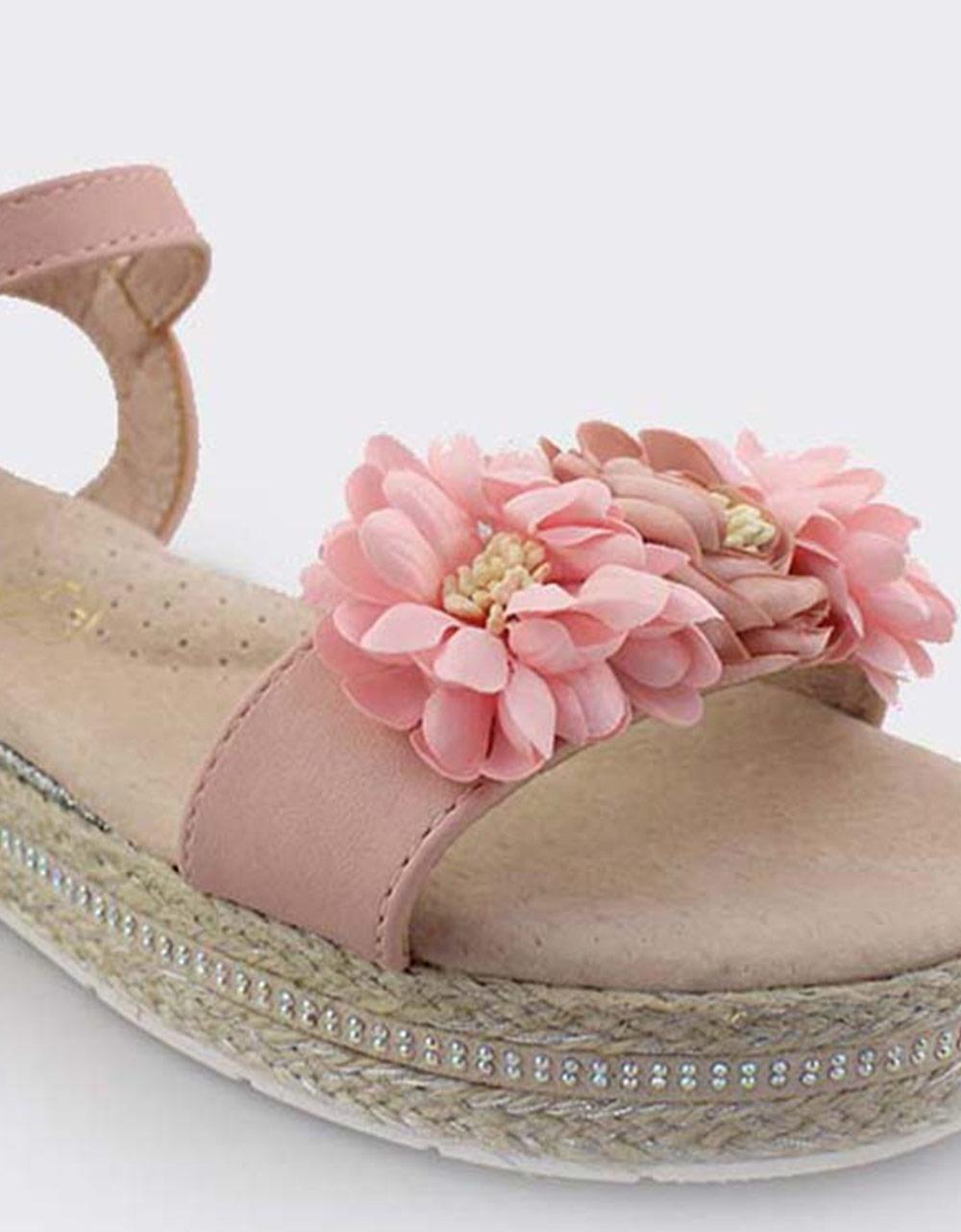 Εικόνα από Παιδικά πέδιλα με λουλουδάκια Ροζ