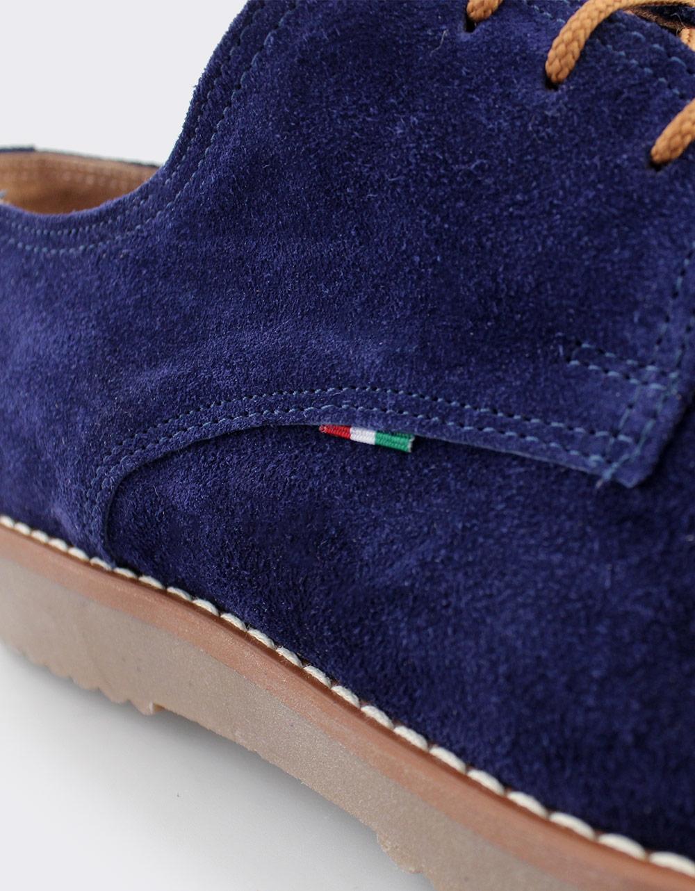 Εικόνα από Ανδρικά loafers καστόρινα σε απλή γραμμή Μπλε