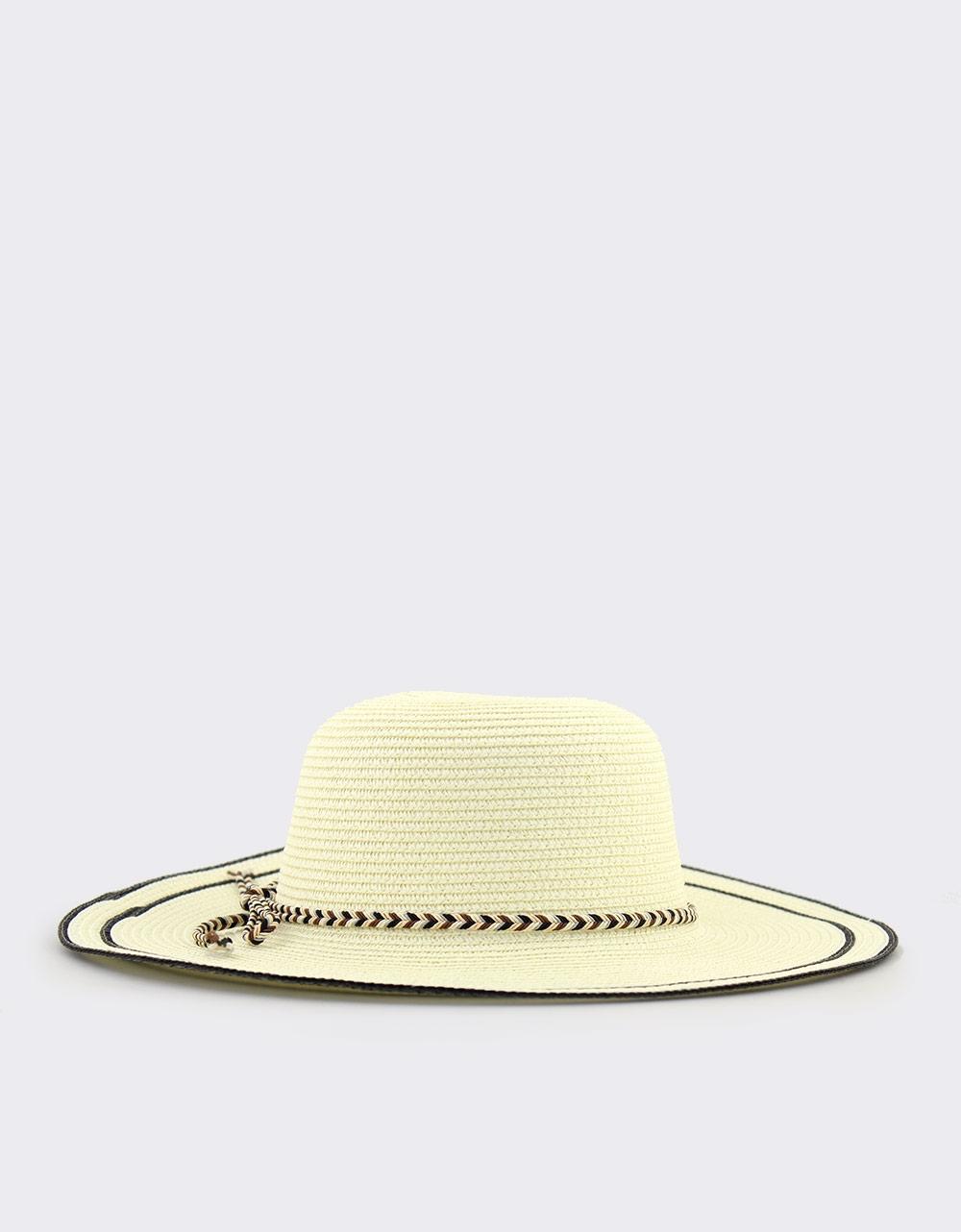 Εικόνα από Γυναικεία καπέλα με πολύχρωμο πλεκτό κορδόνι Μπεζ