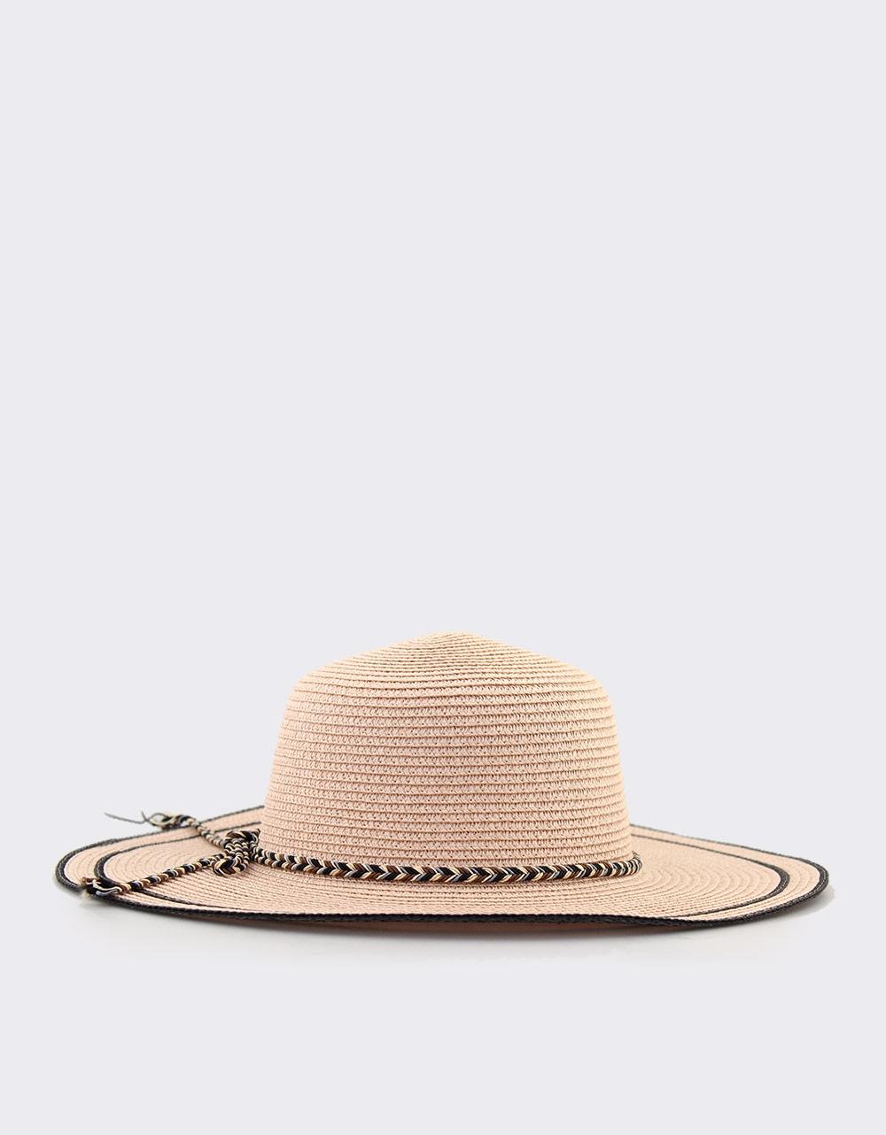 Εικόνα από Γυναικεία καπέλα με πολύχρωμο πλεκτό κορδόνι Ροζ