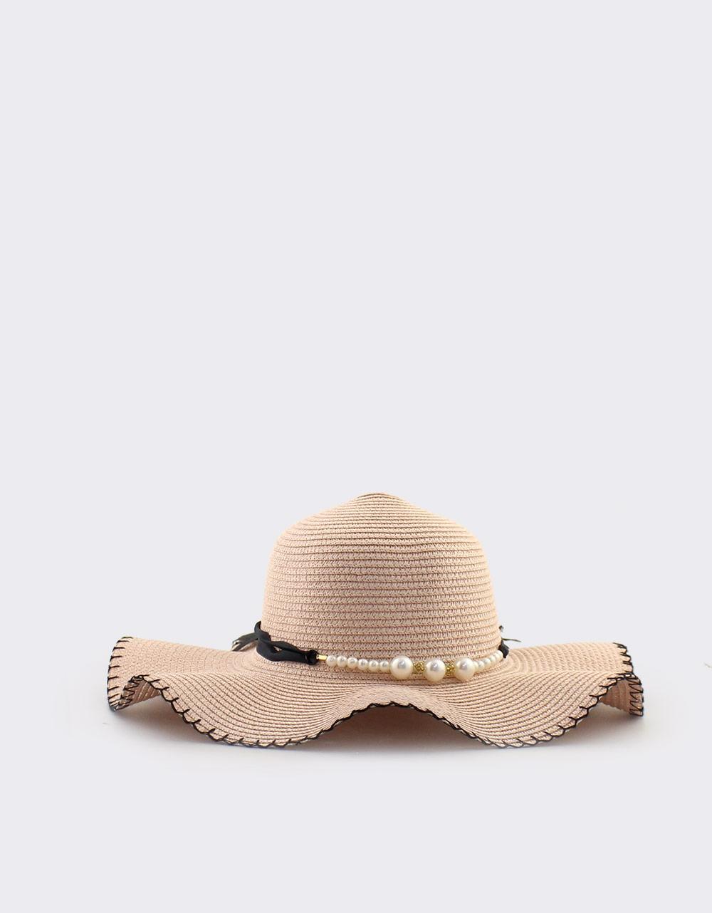 Εικόνα από Γυναικεία καπέλα με διακοσμητικές πέρλες Ροζ