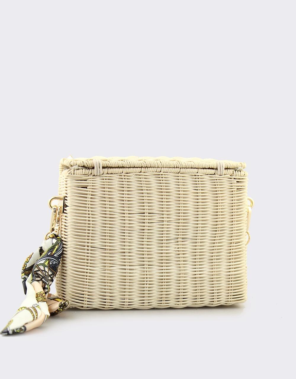 Εικόνα από Γυναικείες τσάντες ώμου με φουλάρι Μπεζ