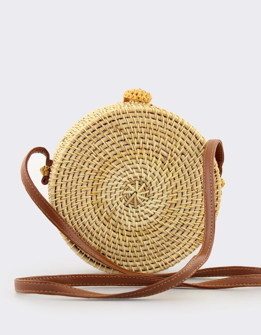 Εικόνα από Γυναικείες τσάντες ώμου με πλεκτό σχέδιο Καφέ