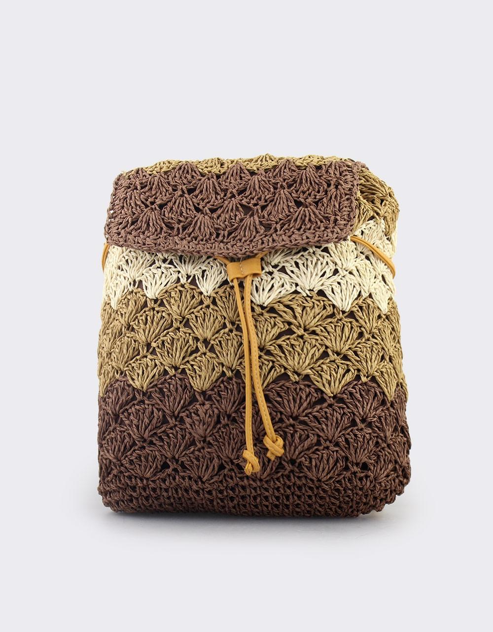 51bf653144 Εικόνα από Γυναικεία σακίδια πλάτης πλεκτά τρίχρωμα Καφέ