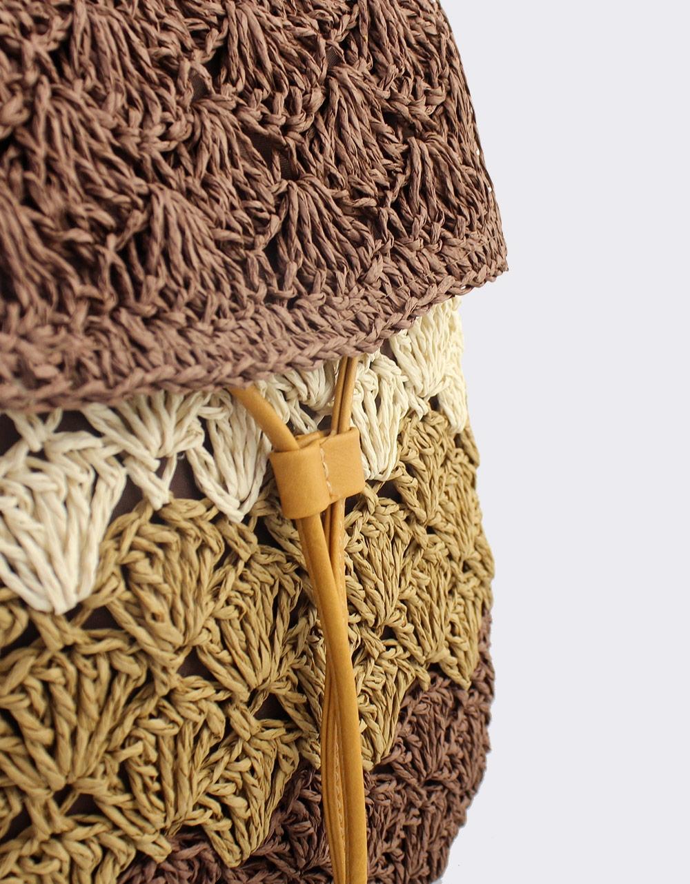 Εικόνα από Γυναικεία σακίδια πλάτης πλεκτά τρίχρωμα Καφέ