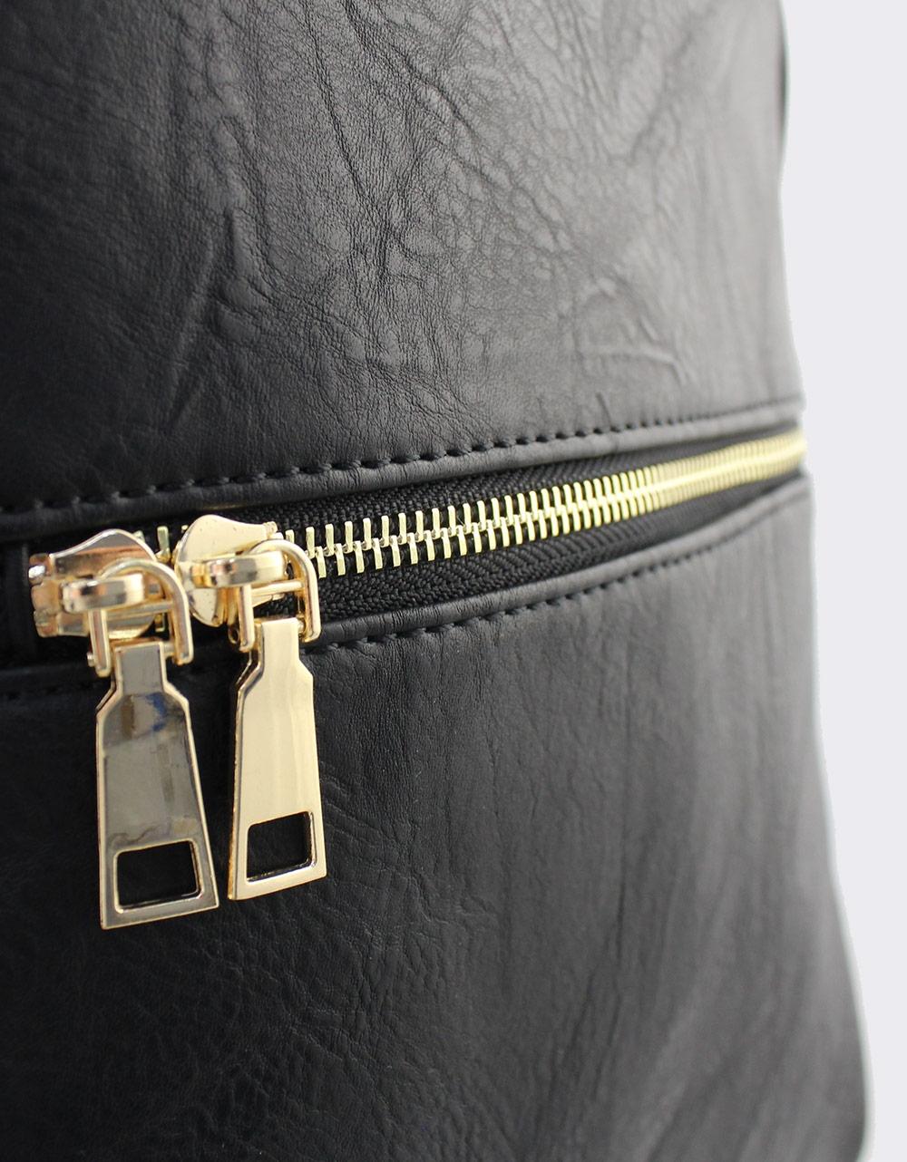 Εικόνα από Γυναικεία σακίδια πλάτης με εξωτερικά φερμουάρ Μαύρο
