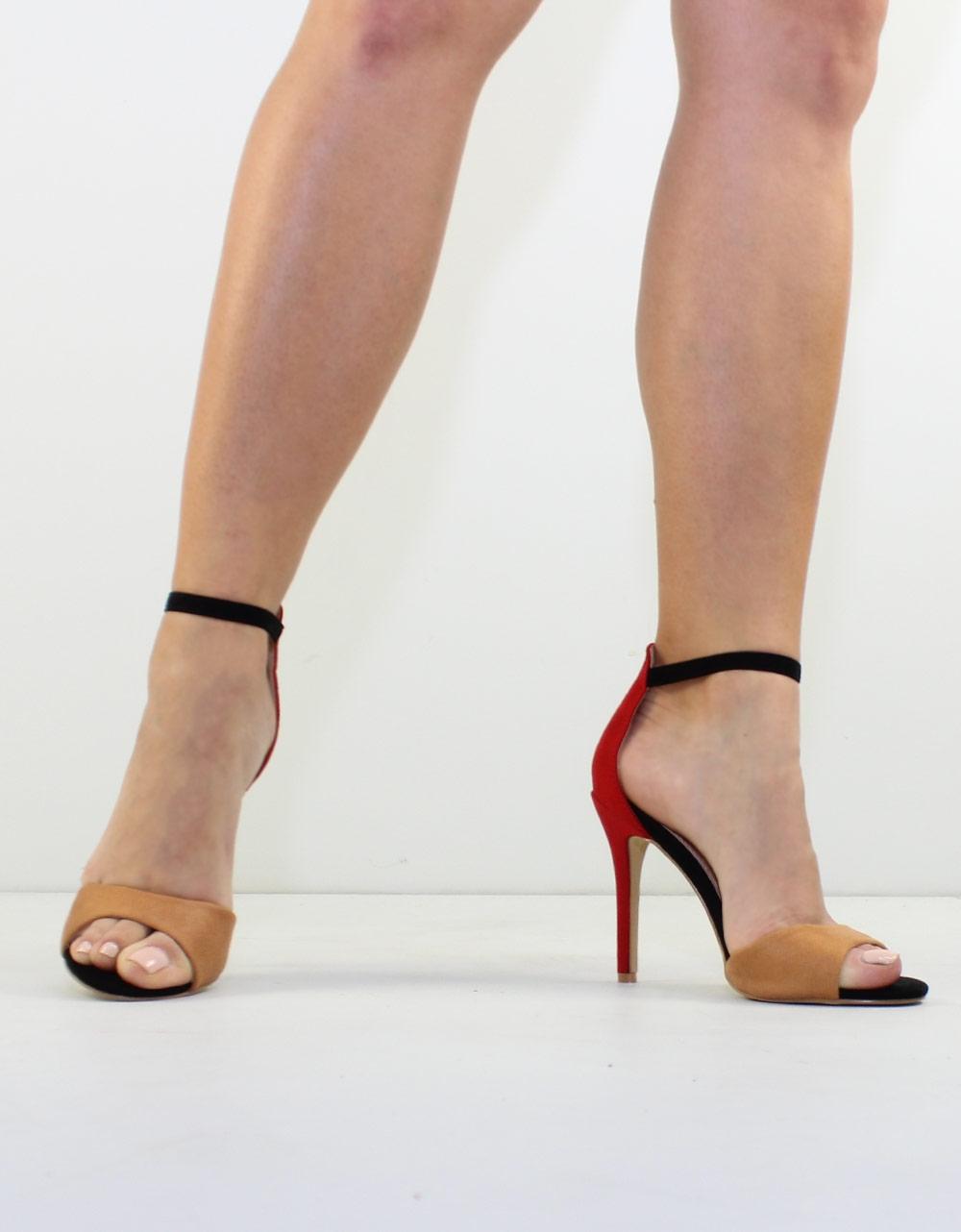 Εικόνα από Γυναικεία πέδιλα τρίχρωμα Κόκκινο