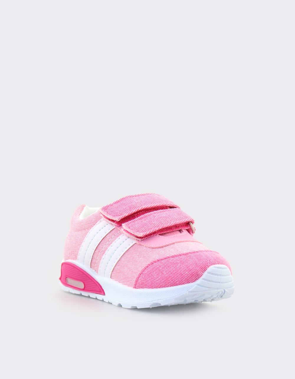Εικόνα από Παιδικά sneakers με φωτάκια και ρίγες Ροζ