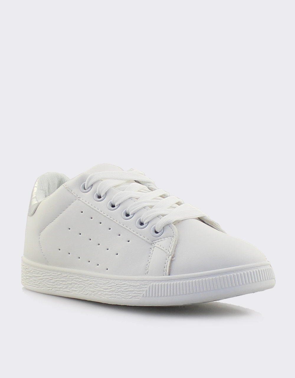 Εικόνα από Γυναικεία sneakers μονόχρωμα περφορέ Λευκό/Ασημί