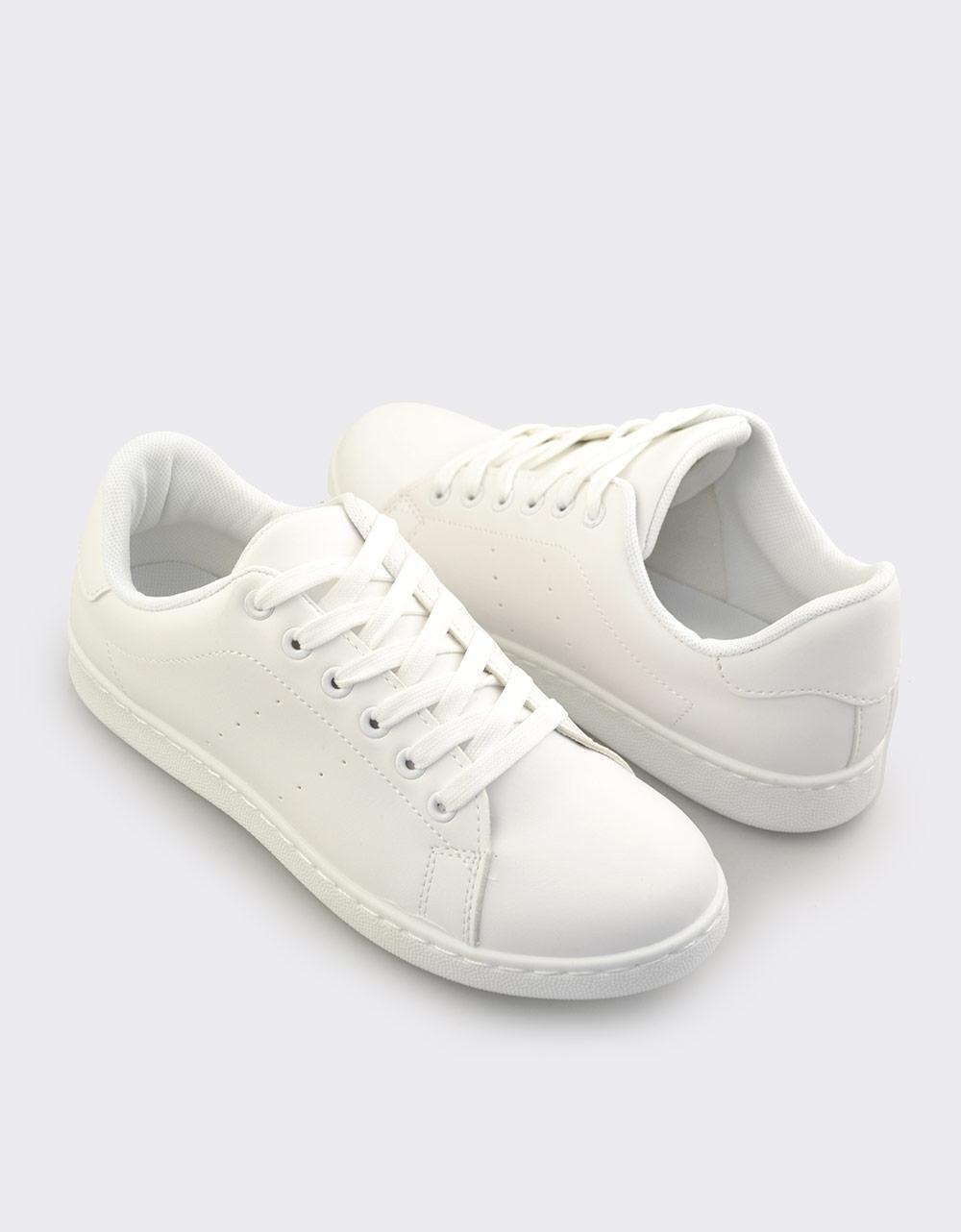 Εικόνα από Ανδρικά sneakers μονόχρωμα Λευκό