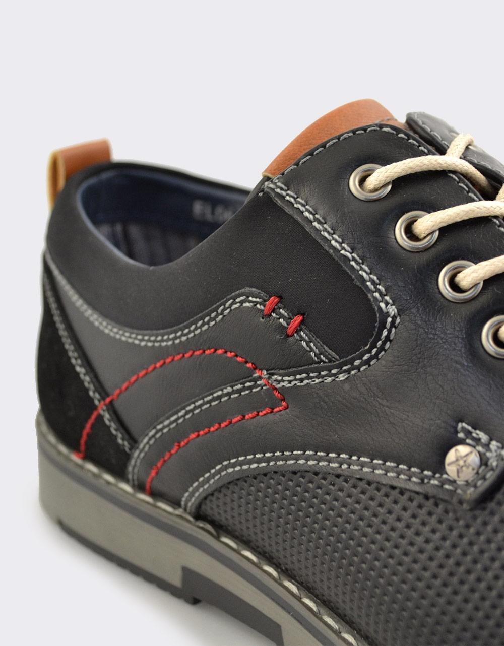 Εικόνα από Ανδρικά loafers με ανάγλυφο μοτίβο και ραφές Μαύρο