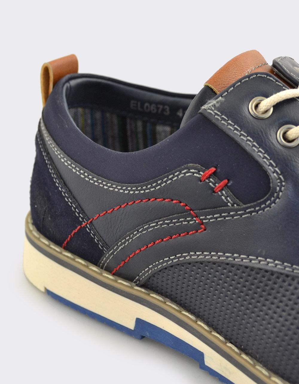 Εικόνα από Ανδρικά loafers με ανάγλυφο μοτίβο και ραφές Navy
