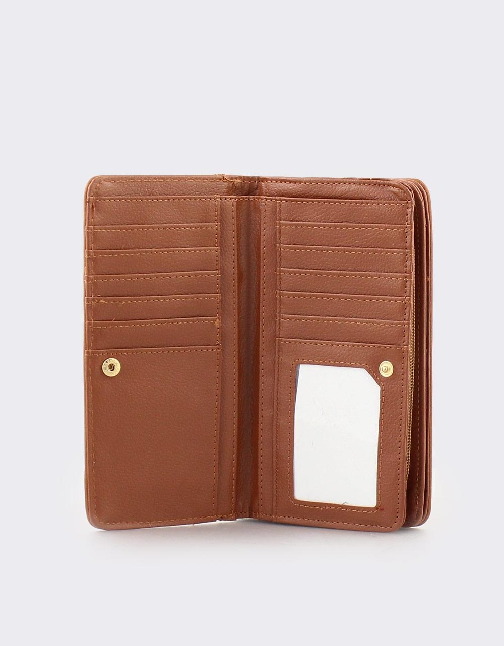 Εικόνα από Γυναικεία πορτοφόλια με λεπτομέρεια από ραφή Καφέ