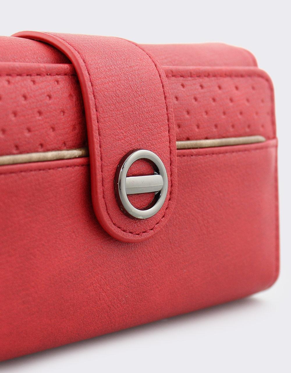 Εικόνα από Γυναικεία πορτοφόλια με κλείσιμο με λουράκι Κόκκινο