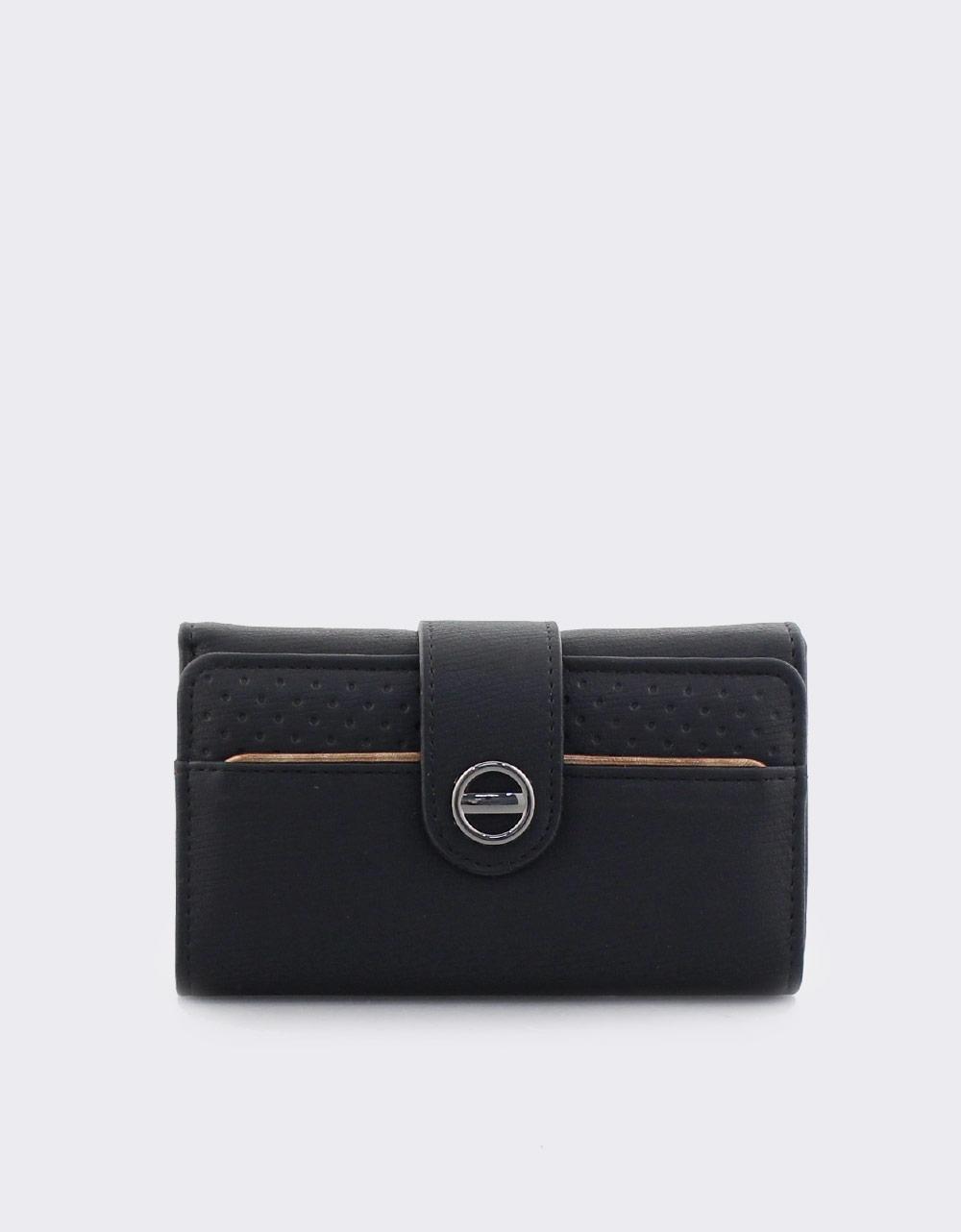 Εικόνα από Γυναικεία πορτοφόλια με κλείσιμο με λουράκι Μαύρο