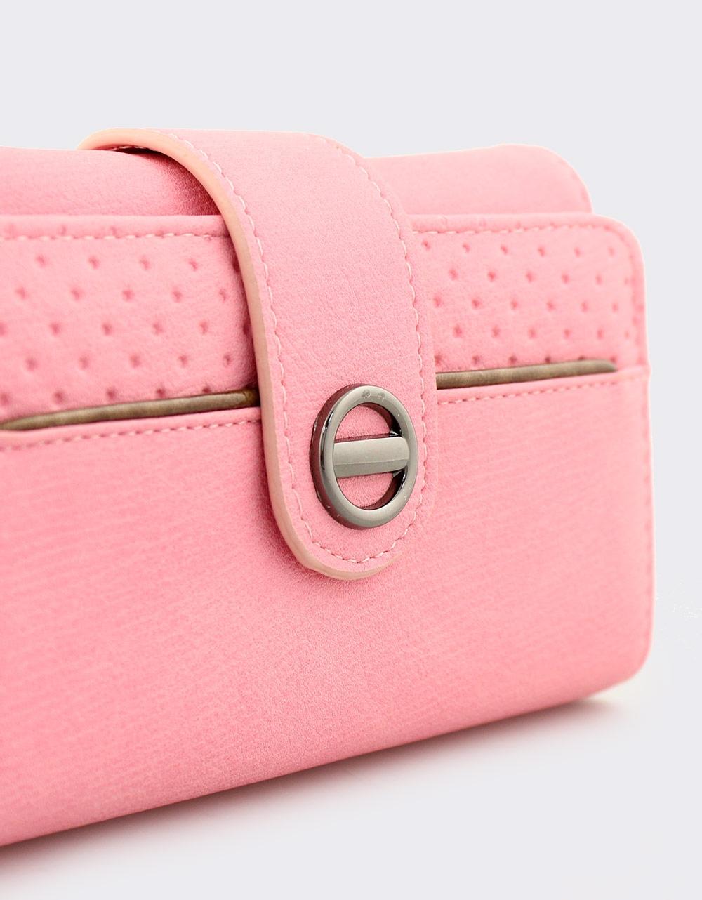 Εικόνα από Γυναικεία πορτοφόλια με κλείσιμο με λουράκι Ροζ