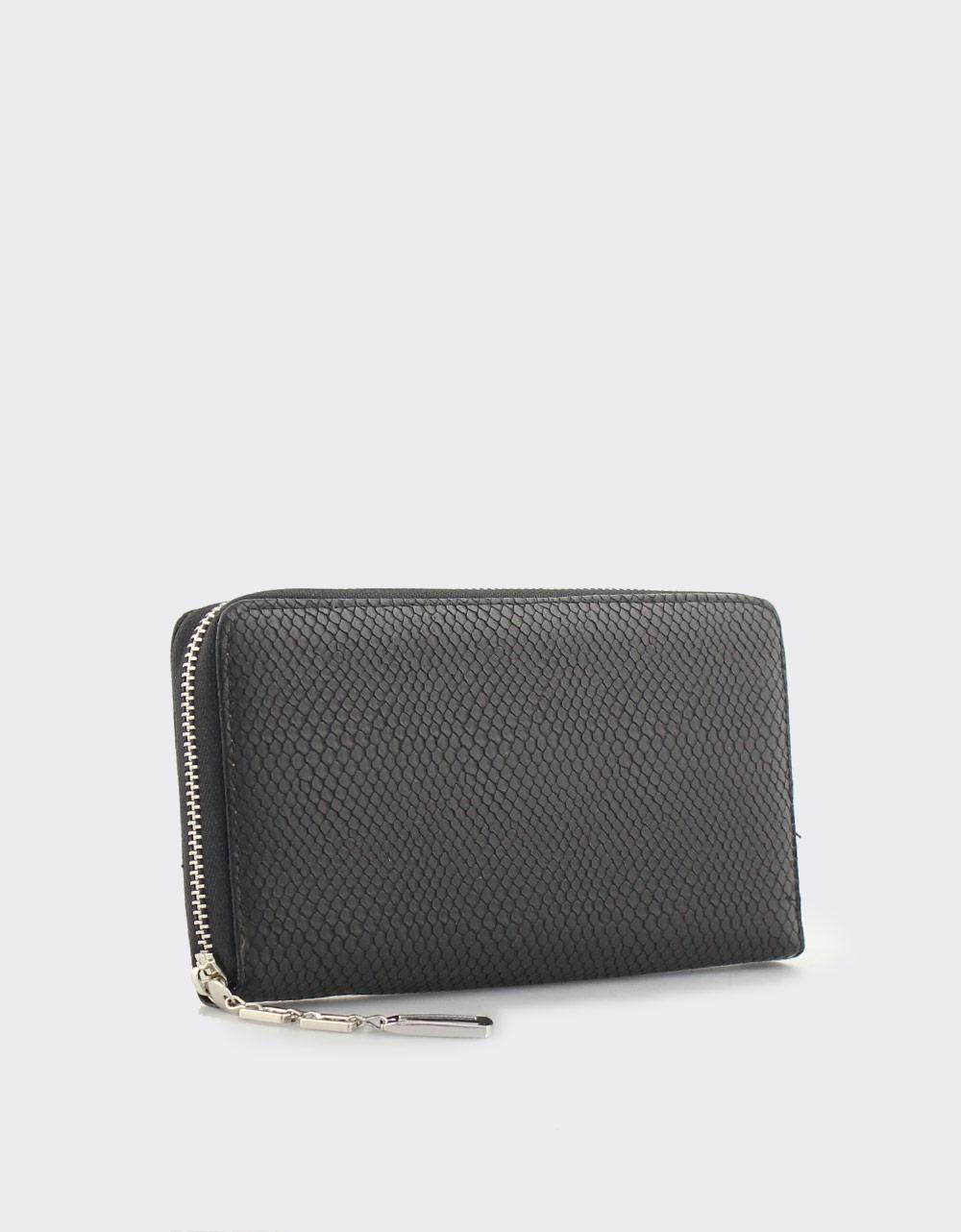 Εικόνα από Γυναικεία πορτοφόλια με κροκό μοτίβο Μαύρο