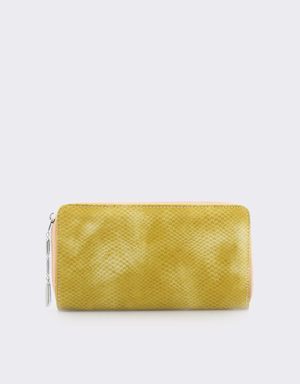Εικόνα από Γυναικεία πορτοφόλια με κροκό μοτίβο Κίτρινο