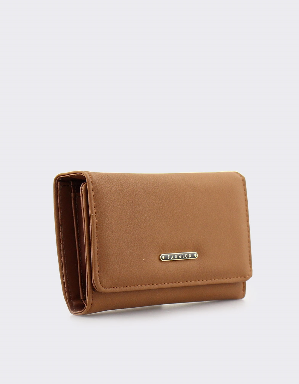 Εικόνα από Γυναικεία πορτοφόλια μονόχρωμα με μεταλλική λεπτομέρεια Καφέ