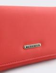 Εικόνα από Γυναικεία πορτοφόλια μονόχρωμα με μεταλλική λεπτομέρεια Κόκκινο