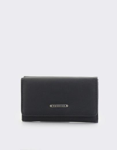 5ed7952192 Εικόνα της Γυναικεία πορτοφόλια μονόχρωμα με μεταλλική λεπτομέρεια Μαύρο