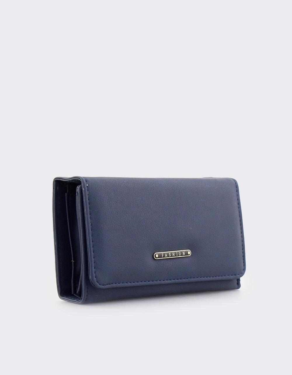 Εικόνα από Γυναικεία πορτοφόλια μονόχρωμα με μεταλλική λεπτομέρεια Μπλε