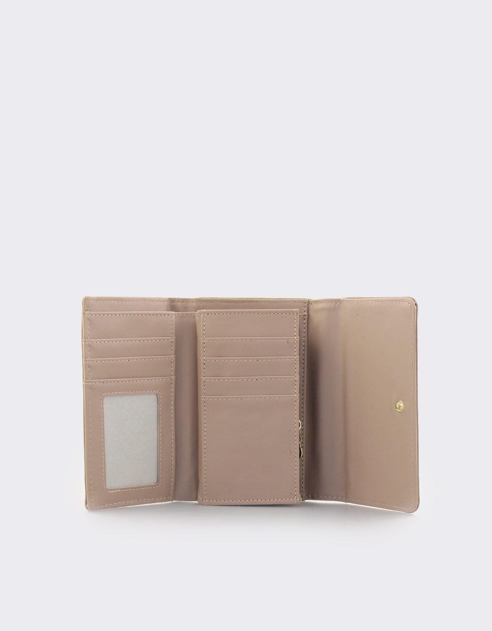 Εικόνα από Γυναικεία πορτοφόλια μονόχρωμα με μεταλλική λεπτομέρεια Πούρο