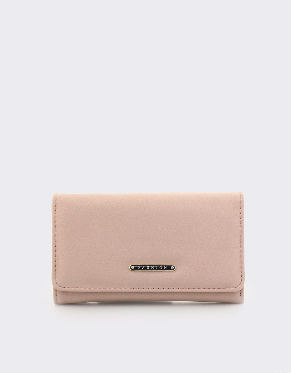 Εικόνα από Γυναικεία πορτοφόλια μονόχρωμα με μεταλλική λεπτομέρεια Ροζ