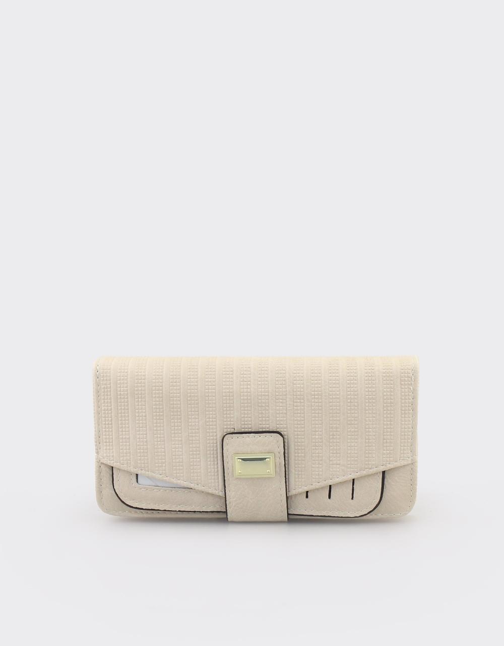 Εικόνα από Γυναικεία πορτοφόλια με ανάγλυφο μοτίβο Μπεζ