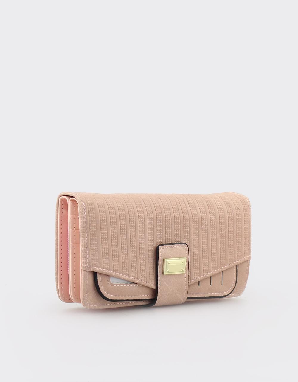 Εικόνα από Γυναικεία πορτοφόλια με ανάγλυφο μοτίβο Ροζ
