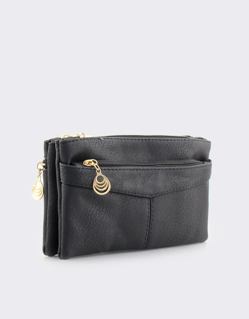 Εικόνα από Γυναικεία πορτοφόλια με διακοσμητικό στο φερμουάρ Μαύρο