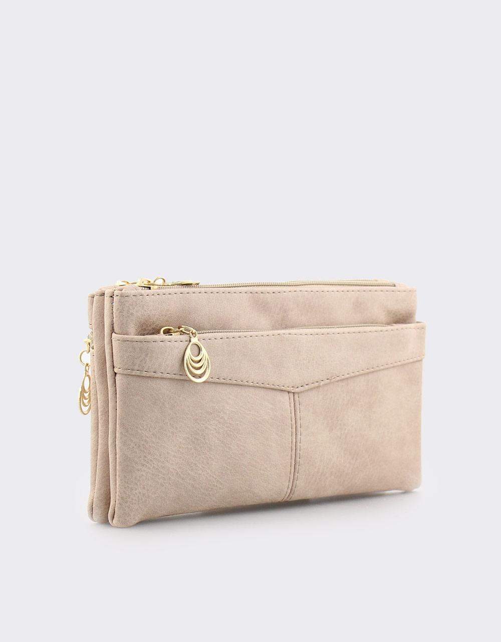Εικόνα από Γυναικεία πορτοφόλια με διακοσμητικό στο φερμουάρ Μπεζ