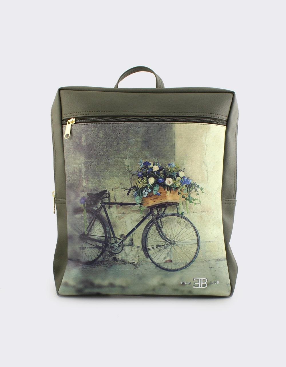 Εικόνα από Γυναικεία σακίδια πλάτης με ποδήλατο και λουλούδια Πράσινο